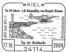 """En el año 2009 se cumplió el 80 Aniversario del primer lanzamiento por cataculpa de un hidroavión-correo desde el buque alemán """"Bremen"""" en el año 1929"""