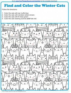 Visual Perception Activity: Find and Color the Winter Cats - repinned by @PediaStaff – Please Visit  ht.ly/63sNt for all our pediatric therapy pins