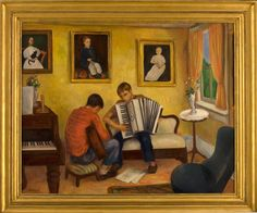 MAKING MUSIC/ Bernard Karfiol (1886–1952), Ogunquit, Maine, 1938, oil on canvas, 32 x 40″, Colonial Williamsburg Foundation, promised gift of Bunty and Tom Armstrong, 2000.TA.1 (L). Ex coll. Robert Laurent, Edith Halpert.
