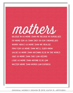 Mothers Matter Mom Poem Art Typographic Print por thedreamygiraffe