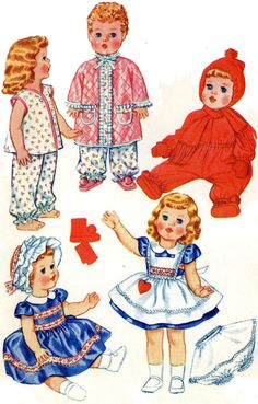 "Doll Clothes PATTERN 2412 Tiny Tears Dydee Betsy Wetsy Snowsuit Pajamas 23"" 25"" #McCalls"