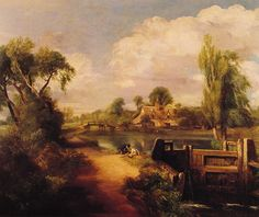 "Painting of the Day! John Constable (1776-1837) ""Landscape with Boys Fishing"" Oil on Canvas 1813 To see more works by this artist please visit us at: http://www.artrenewal.org/pages/artwork.php?artworkid=4809&size=large"