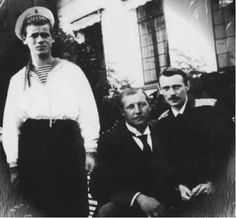 Grand Duke Michael and Grand Duke George with his cousin George of Greece