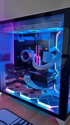 Gaming Pc Set, Best Gaming Setup, Gaming Pc Build, Gaming Room Setup, Pc Setup, Gaming Desktop Case, Computer Gaming Room, Gaming Rooms, Gamer Room