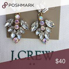 J CREW IRRIDESCENT CRYSTAL EARRINGS New J CREW crystal earrings. There is a variation in the shape of the stones, all have a beautiful sparkle with Iridescence 🌸🌸!! -JCrew dust cloth included. J. Crew Jewelry Earrings