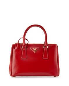 Saffiano Vernice Mini Double-Zip Crossbody Bag, Red (Rosso) by Prada at Neiman Marcus.