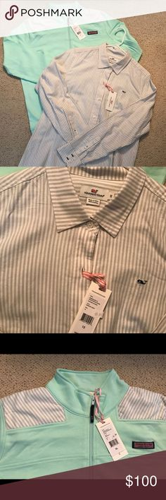 Women's Vineyard Vines NEW Dynamic Duo New with tags. Women's Vineyard Vines shep shirt and matching button down shirt. Shep shirt is XL and button down shirt is a 12. Both are cotton. I have other shep shirts and they do shrink a little. SUPER CUTE together or worn seperately. I had bought them a couple years ago, they've been sitting in my closet...if I haven't worn them, I need to find someone who will. Original price for both items easily over, $200. I'm just looking to get back some of…