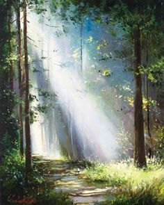 Photo to oil painting canvas. forest light by gleb goloubetski Art Watercolor, Watercolor Landscape, Landscape Art, Landscape Paintings, Nature Paintings, Beautiful Paintings, Paintings Of Trees, Bright Paintings, Oil Paintings