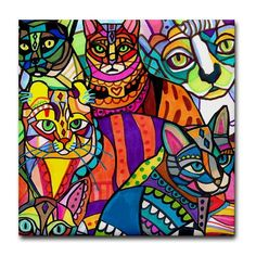 50 off  CATS Art Ceramic Tile Colorul by HeatherGallerArt on Etsy, $10.00