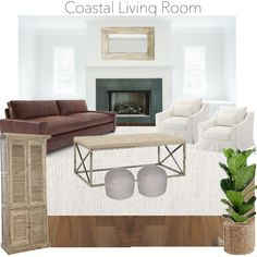 Design Sixty Five - coastal living room design, restoration hardware maxwell leather sofa, RugsUSA woven rug, target coffee table, IKEA Farlov arm chairs, Studio McGee fireplace inspiration, concrete fireplace surround, fiddle leaf fig, pouf ottomans