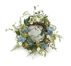 Melrose International Hydrangea Artichoke and Wild Rose Polyester Plastic and Twig Wreath by Melrose International, LLC. $66.62. 24-Inch Blue Hydrangea with Artichoke and Wild Rose Wreath. Beautiful 24-Inch Blue Hydrangea Wreath with Artichoke, Fern and Wild Rose Accents