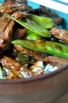 16 Pioneer Woman Recipes You Can Make in 16 Minutes via pioneer snowpeabeef ONCE UPON A RECIPE BEEF WITH SNOW PEAS@PureWow