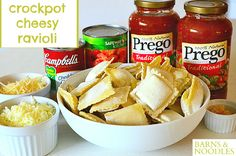 Crockpot Cheesy Ravioli- Super easy and delicious.  Easily serves 6, or perfect for leftovers.  Paired with a big salad and it was perfect for a cool winter night!