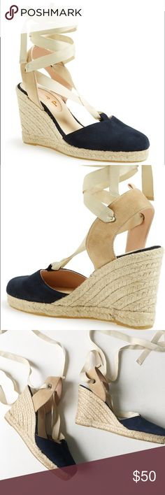 """SJP Espadrille Wrap Wedge Wraparound straps and a jute-covered wedge boost the retro style of a breezy espadrille sandal. A bit of delicate grosgrain ribbon trim pays tribute to designer Sarah Jessica Parker's favorite childhood adornment while providing a signature finishing touch. Only worn once. The ribbon on one shoe is fraying but could still be worn or easily replaced.  3"""" heel; 3/4"""" platform (size 37). Suede and textile upper/leather lining/synthetic sole. By SJP; made in Spain. SJP…"""
