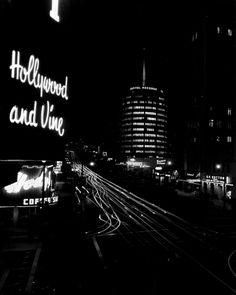 Long exposure of Hollywood and Vine at night, circa 1956.