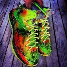 "5aee24d6b825 2013 Nike LeBron 10 ""Highlighter"" Joe Haden Custom X Sneaker. He has all of  the newest Nikes-custom made"