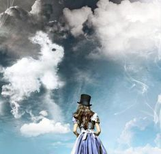 Alice in Wonderland. ♥ Alice in wonderland white rabbit down the rabbit hole clouds api photo Alice And Wonderland Quotes, Adventures In Wonderland, Alison Wonderland, Alice In Wonderland Pictures, Wonderland Party, Lewis Carroll, Louis Aragon, Dark Disney, Were All Mad Here
