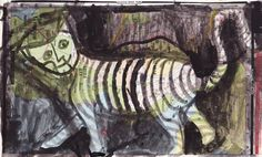 Stripey Cat, ink on map by Nancy MacAlpine  http://www.wearesoarty.blogspot.com.au