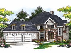 Eplans French Country House Plan - Two-Story European Elegance - 3551 Square Feet and 4 Bedrooms(s) from Eplans - House Plan Code HWEPL13673