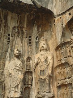 Longmen Grottoes, late Northern Wei and Tang Dynasties (316-907), LuoYang, China. The caves contain almost 110,000 Buddhist stone statues, more than 60 stupas and 2,800 inscriptions carved on steles.