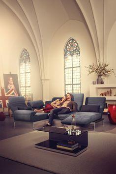 Always different, always ideal: the Rolf Benz PLURA sofa line.  Rolf Benz Studio, Boston, MA.