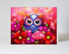 Watercolor Floral Greeting Card - Owl in Red Poppy Flower Field - Blank Card with Envelope on Etsy, $3.95