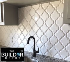 $10.95 a Square Foot Beveled Whisper White Arabesque Tile. You get 8 pieces to a square foot it really gives a clean look available in a Gloss and Matte finished in Beveled and non-beveled. We just love Arabesque. Stocked in the tens of thousands of square feet and ships in 1-2 Business Days. #arabesque