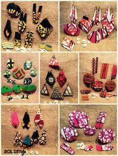 Boucles d'oreilles en formes géométriques, fait à la main avec le tissu africain Wax.  Chaque pièce est unique. SOL DiTuja