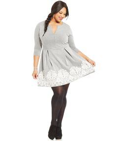 Soprano Plus Size Border-Print A-Line Dress - Trendy Plus Sizes - Plus Sizes - Macy's