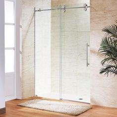 vigo 60inch clear glass frameless sliding shower door stainless steel silver