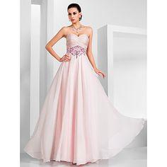 A-line Sweetheart Floor-length Chiffon Evening Dress – USD $ 179.99