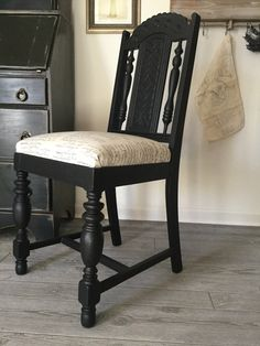 Black Chair French Script Fabric ~ Solid Wood Desk Chair, Dining Chair, New Fabric and Cushion, Spindles, Ornate Carvings, Beautiful! by SassafrasShoppeCo on Etsy https://www.etsy.com/listing/494419635/black-chair-french-script-fabric-solid