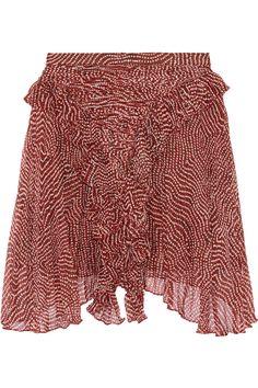 ISABEL MARANT Meg Printed Silk-Chiffon Mini Skirt. #isabelmarant #cloth #skirt