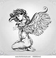 The girl with wings of an eagle: compre este vector en Shutterstock y encuentre otras imágenes. Arte Cholo, Tribal Lion, Wings Drawing, Eagle Wings, Figure Sketching, Girl Silhouette, Illustration Girl, Portfolio, Erotic Art