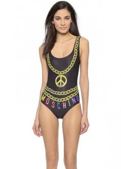 0c4e3c9483d94 Black Pink Golden Necklace Print Swimwear Moschino