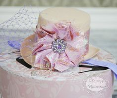 Mini Top Hat Headband in Purple and Beige Mad Hatter Tea Party Style