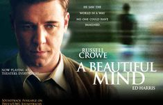 With Russell Crowe - A drama film based on the life of John Nash (a Nobel Laureate in Economics. Movies Based On Novels, Movies And Tv Shows, See Movie, Movie Tv, Psychological Movies, 10 Film, Russell Crowe, Kino Film, Jennifer Connelly