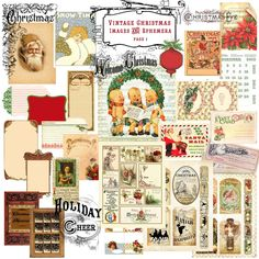 vintage christmas words | Digital - Vintage Christmas Images & Ephemera - D-106-1 from Crafty ...