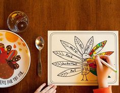 Free Thanksgiving printable: Kids coloring page for the table