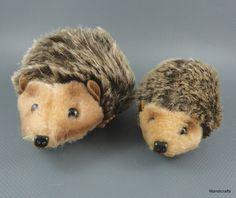 #Hermann #Hedgehog x 2 Mohair Dralon Plush Lying 10 cm & 15 cm no ID Germany Vintage