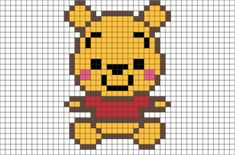 Http - //cdn - Shopify - Pooh Pixel Art Pixel Art Baby - Pixel Art Winnie The Pooh Hama Beads Design, Hama Beads Patterns, Beading Patterns, Bracelet Patterns, Crochet Patterns, Easy Pixel Art, Pixel Art Grid, Pixel Pixel, Graph Paper Drawings