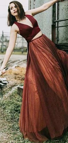 A-line Two Piece Burgundy Tulle Bridesmaid Dress,Cheap Bridesmaid Dresses,WGY0425#bridesmaids #bridesmaiddress #bridesmaiddresses #dressesformaidofhonor #weddingparty #2020bridesmaiddresses