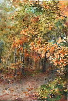 Купить Осень. - рыжий, осень, осенние краски, пейзаж, осенний пейзаж, акварель, акварельная живопись