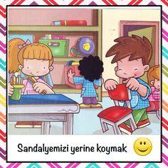 Sınıf kuralları Cartoon Kids, Art Activities, Preschool Crafts, Classroom Management, Illustrations, Cute Pictures, Back To School, Diy And Crafts, Kindergarten