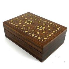 Handcrafted Sheesham Wood and Inlaid Brass Hearts Box Handmade and Fair Trade