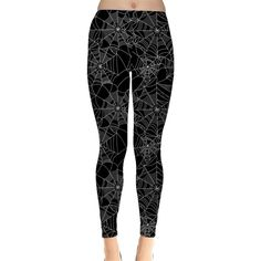 Black Halloween Spider Web Pattern Women's Leggings ($15) ❤ liked on Polyvore featuring pants, leggings, print leggings, patterned leggings, black leggings, print pants and black trousers
