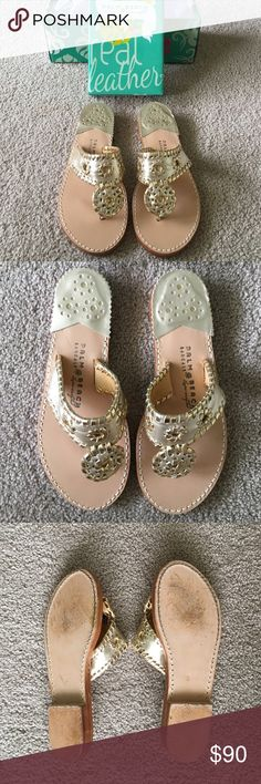 Gold/Platinum Palm Beach Sandals Color is Platinum/Gold. Only worn once, in perfect condition other than the wear shown on the bottom of the shoes. Listed under Jack Rogers for views, however Palm Beach sandals are the original and better quality of the two brands. Original box included. Make me an offer ☺️ Jack Rogers Shoes Sandals