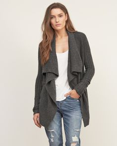 Womens Textured Drapey Cardigan | Womens Tops | Abercrombie.com