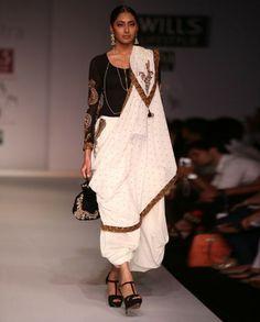 Joy Mitra Black Blouse with Dhoti Pants