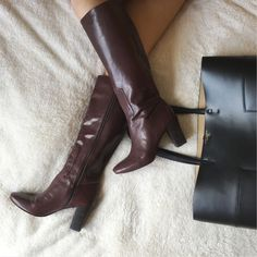 {nine west} chio leather boot Well made, very structured rich mahogany leather. Worn but once. Soles are basically spotless. Nine West Shoes Heeled Boots